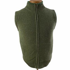 LL Bean Lambswool Cardigan Sweater Vest Jacket